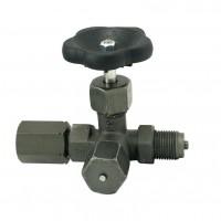 Tripotni manometrski ventil (črn) DIN 16271